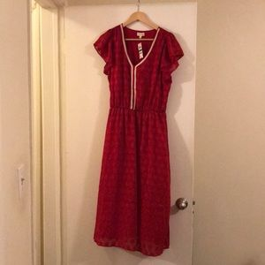 Maison Jules Red Midi Dress L NWT